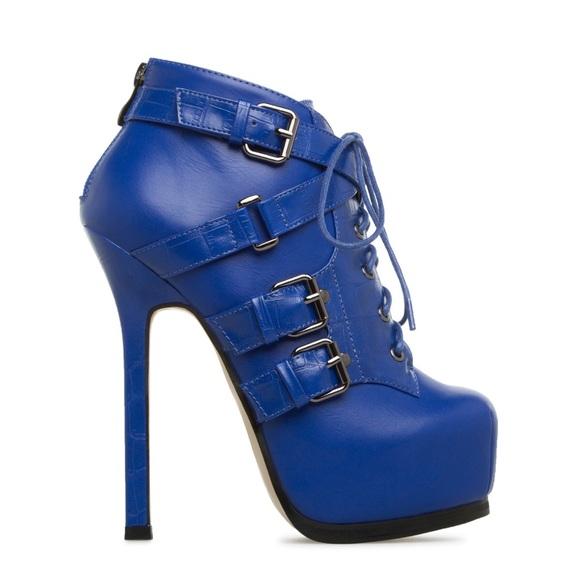 322238d985ebe Shoe Dazzle Shoes | Lizandra Blue Heel Boots Size 9 | Poshmark